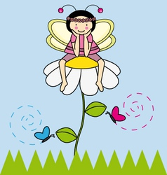 Fairy sitting on a flower vector image