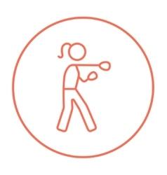 Female boxer line icon vector