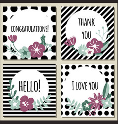Floral greeting cards or banners vector