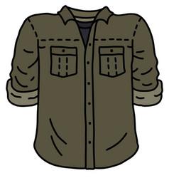 Funny khaki green shirt vector