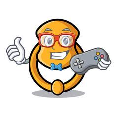 Gamer elegant fashion door knocker mascot cartoon vector