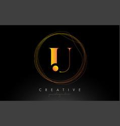 Gold artistic u letter logo design with creative vector