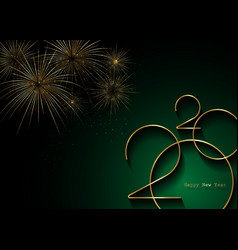 golden banner 2020 happy new year with copy space vector image