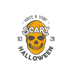 halloween party label template with skull and vector image