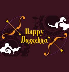 happy dussehra festival india phrase bow arrow vector image