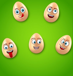 Happy easter background with cheerful cartoon eggs vector
