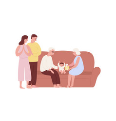 Happy family celebrating first babirthday on vector