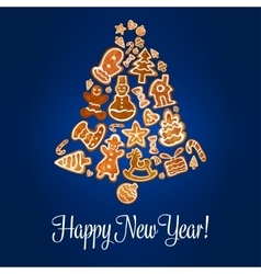 Happy New Year poster Gingerbread jingle bell vector