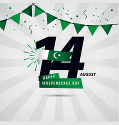 Happy pakistan independence day 14 august vector
