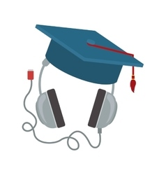 Headphones with graduation cap vector