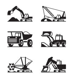 Heavy construction and minning equipment vector image