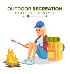 Hiking girl sports outdoor recreation vector