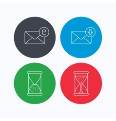 Hourglass inbox mail and e-mail icons vector image
