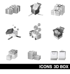 Icon set 3D Box vector image
