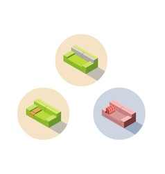 Isometric green and pink sofa seat couch 3d flat vector
