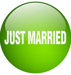 Just married green round gel isolated push button vector