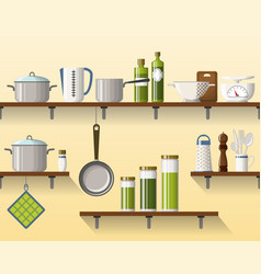 Kitchen shelving with tableware seamless part 2 vector