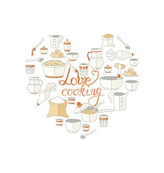 kitchen utensils as heart with signature vector image