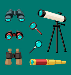 magnifying optical devices set stationary white vector image