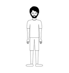 man full body with t-shirt and short pants and vector image