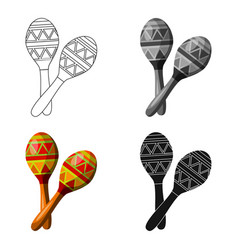 Mexican maracas icon in cartoon style isolated on vector