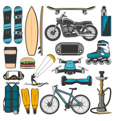 Modern sport leisure and hobsport items vector