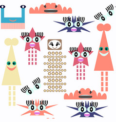 monster seamless pattern it is located in swatch vector image