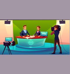 news presenters in television studio vector image