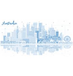 outline australia city skyline with blue vector image