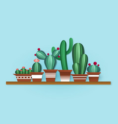 paper cactus cute cacti with flowers in vector image