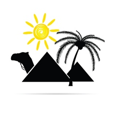 Pyramid with camel and sun vector