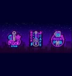 Rock music collection neon logos rock pub vector