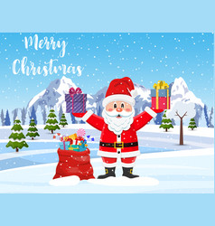 santa claus with a bag of toys vector image