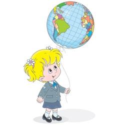 Schoolgirl with a globe - balloon vector