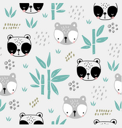 seamless pattern with funny panda bear faces vector image