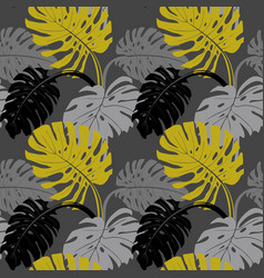 seamless pattern with tropical plants in vector image
