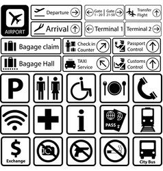 set black and white airport sign vector image