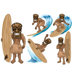 set cartoon tiki mask play surfing collection vector image