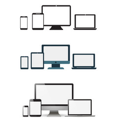 Set realistic monitors laptop tablet and phone vector