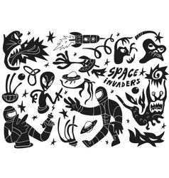 Space invaders aliens - doodles set part 2 vector