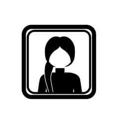 Square border with silhouette half body ponytail vector