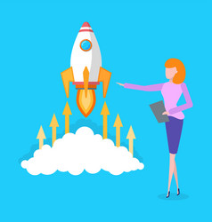 startup idea of businesswoman business launching vector image