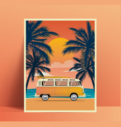 summer travel poster design with vintage surfing vector image