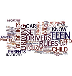 Teen drivers text background word cloud concept vector