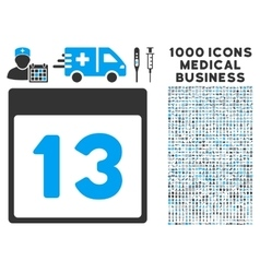 Thirteenth Calendar Page Icon With 1000 Medical vector