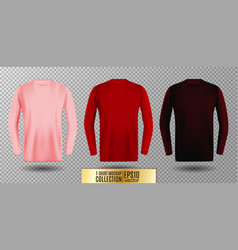 three shades pink red and vinous long sleeve t vector image