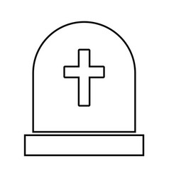 Tomb stone black icon vector