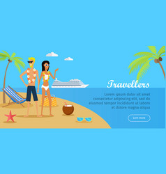 travellers couple on tropical island vector image