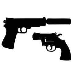 Two black handguns vector