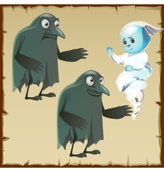 Two ghosts sad and cheerful with beak crows vector